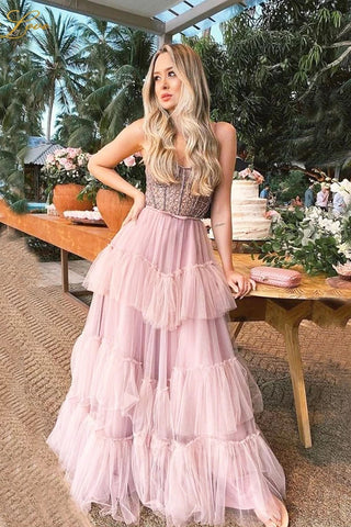 Pink Layers Prom Dresses Long A Line Beaded Party Dress Tiered Strapless Tulle Evening Dress OKW44
