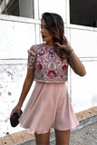 A-Line Jewel Short Pink Chiffon Homecoming Party Dress with Sequins Beading OKD13