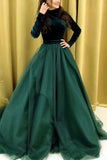 Dark Green A Line Satin Long Sleeves Prom Dresses Evening Dress OKT91