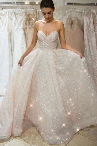 Glitter A Line Wedding Dresses For Bride Sweetheart Long Sparkly Bridal Gowns OKW39