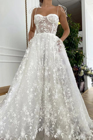 Gorgeous Off White Sweetheart Lace Prom Dress A-Line Spagetti Straps Long Evening Dress OKW56
