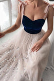 Tulle Princess Simple Sequins Prom Dress, A Line Long Formal Evening Dress OKW3