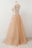 A-Line Round Neck Tulle Long Prom Dress with Lace Appliques OKU29