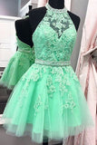 Halter Homecoming Dresses,A-Line Homecoming Dresses,Tulle Homecoming Dresses,Appliques Prom Dresses,Green Homecoming Dresses,Backless Prom Dresses,Short Prom Dress