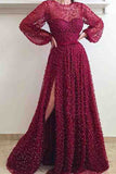 Cheap A Line Burgundy Long Sleeve Vintage Split Prom Dress OKE95