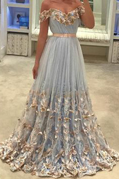 Light Blue Prom Dress,Tulle Prom Dress,Off The Shoulder Evening Gowns,,A Line Evening   Dresses,Appliques Prom Dress