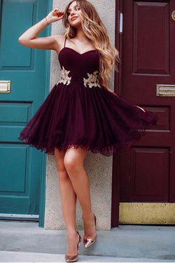 Wonderful Burgundy Tulle Spaghetti Straps A-line Homecoming Dresses OKD90