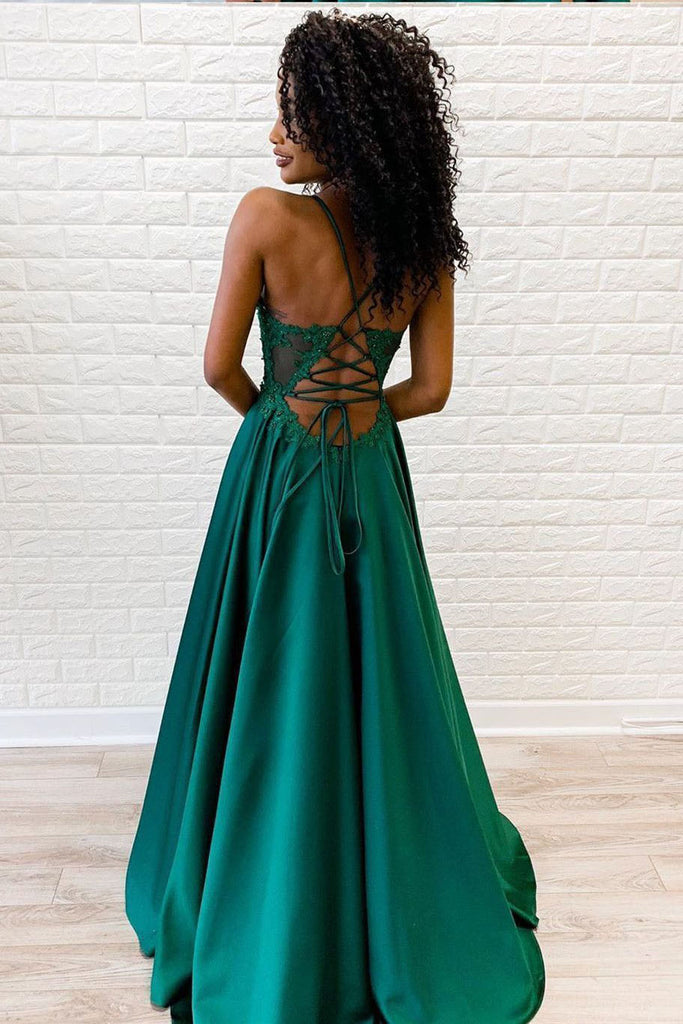 Emerald Spaghetti Straps Lace Appliques A Line Prom Dress OKU37