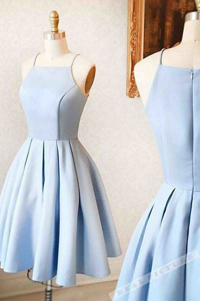 Light Blue Homecoming Dress,Satin Homecoming Dresses,Simple Homecoming Dresses,Short Prom Dress,Mini Evening dress for teens