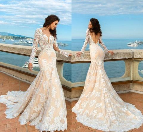 Lace Mermaid Deep V-Neck Backless Long Sleeves Backless Wedding ...