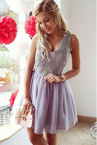 A-Line Homecoming Dresses,V-Neck Homecoming Dresses,Short Prom Dresses,Lilac Homecoming Dresses,Lace Homecoming Dresses