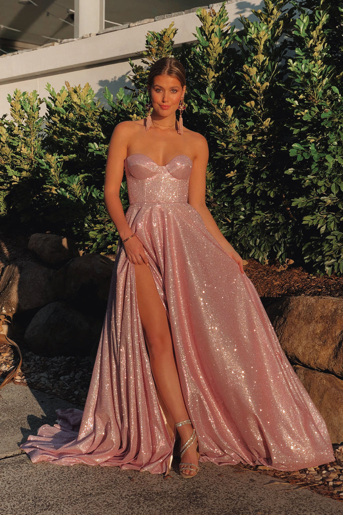 Sweetheart A Line Sparkly Prom Dresses Long Backless Slit Evening Gowns OKW33