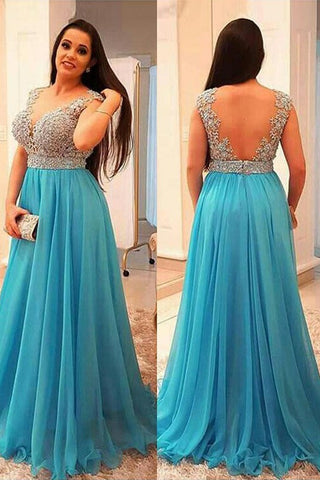 A-Line V-neck Sleeveless Beading Chiffon Ice Blue Plus Size Dresses OKF44