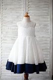 A-line Scoop Sleeveless Bowknot Floor-Length Lace Flower Girl Dresses With Navy Sash OK723