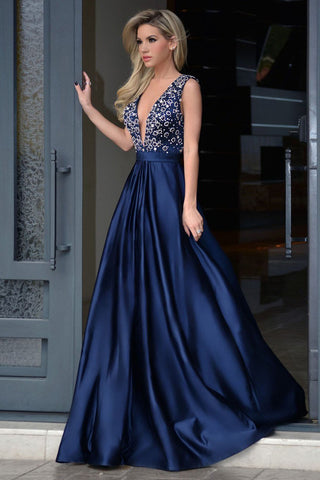 18bd596ac38 Elegant Deep V-neck Royal Blue Rhinestone A-line Long Cheap Prom ...