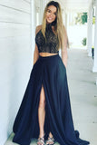 A-line Lace Bodice Navy Two Piece High Neck Prom Dresses Pockets with Split OK635