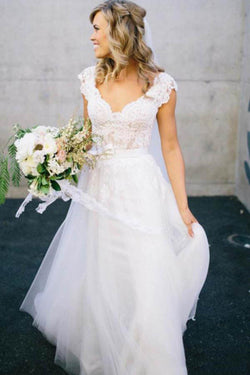 White Wedding Dress,V-Neck Wedding Dresses,Lace Wedding Dresses,Long Wedding Dresses,A-line Wedding Gown,Tulle Wedding Dress