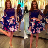 Sexy Two Piece Long Sleeves Prom/Homecoming Birthday Party Dress Royal Blue Floral with Lace OK329
