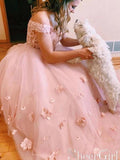 Stunning Two-piece V Neck Bridal Dresses Flowers Appliqued Pink Wedding Gowns OKP91