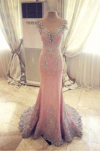 Luxury Prom Dresses,Mermaid Prom Dress,Pink Prom Gown,Fashion Evening Dress,Sexy Party Dress,Formal Evening Dress