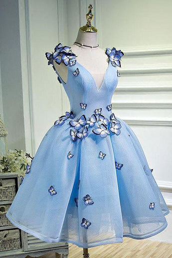 Sky Blue Butterfly Applique A Line V Neck Short Homecoming Dress OKB67