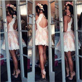 Cute A-line Halter Pink Short Homecoming Dresses Lace Appliques OKA91