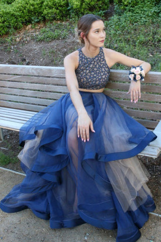 Elegant Two Pieces A-Line Blue Organza Long Prom Dresses With Beads OKB20