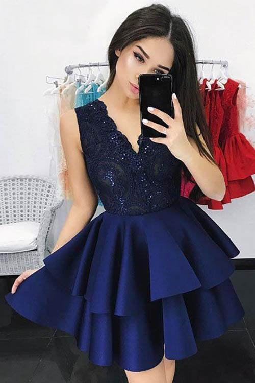 New Arrival A-Line V-Neck Short Homecoming Dress with Appliques,Graduation Dresses OK313
