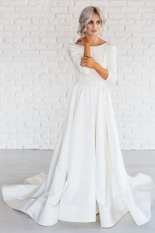 Simple White A-line Satin Sweep Train 3/4 Sleeve Backless Wedding Dresses OK740