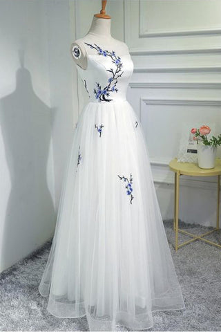 33d0b72ced9 Simple Women Fashion White Embroidery Tulle Long Prom Evening ...