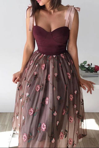 A Line Tulle Short Prom Dresses Floral Skirt Tea Length Women Casual Gowns OKW86