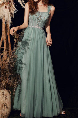 Green Spaghetti Straps Prom Dress Fairy Evening Party Dress Lace-up Slleveless Prom Gown OKW78