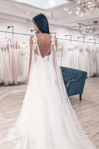 Tulle A-Line Wedding Dresses V-Neck Spaghetti Straps Lace Applique Chapel Train Bridal Dress OKW20