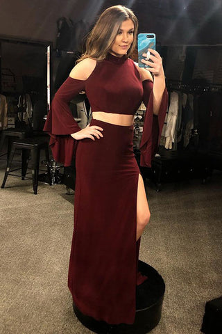 Two Piece Mermaid Cold Shoulder Long Sleeves Burgundy Prom Dress With Split OKQ54
