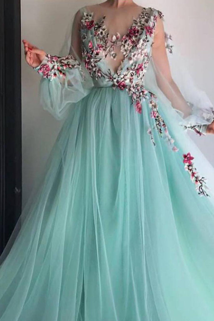 7f1d1a87df1a8 Princess Scoop Floral Appliques Long Puffy Sleeves Prom Dress OKI31