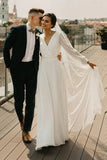 Simple A Line Chiffon Wedding Dress V Neck Long Sleeves Bohemian Bridal Dress OKV58