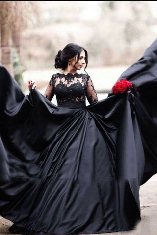 Black Gothic A Line Lace Appliques Long Sleeves Prom Dresses OKW61