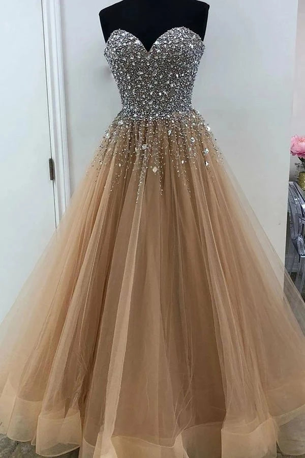 Sweetheart Floor Length Beading Prom Dress, Glitter Gold Long Formal Dress OKU22