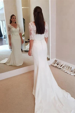 Mermaid V-Neck Half Sleeve Elegant Wedding Dresses Vintage Lace Spandex Bridal Dress OKW26