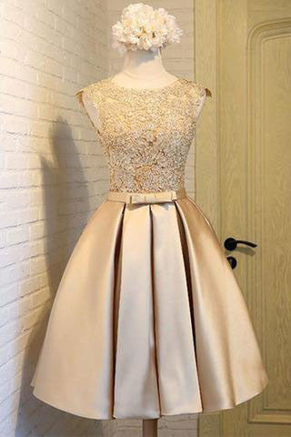 Light Gold Homecoming Dress,Gold Prom Dresses,Short Prom Dresses,Lace Prom Dresses,Sweet 16 Dress,Modest Homecoming Dresses,Junior Prom Dresses