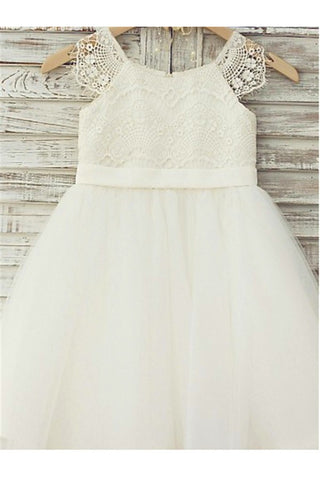 Princess Flower Girl Dress,Lace Flower Girl Dresses,Ivory Flower Girl Dress
