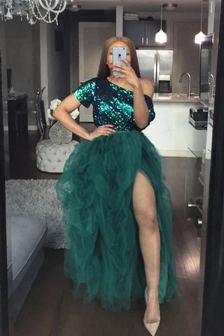 High Slit Tulle Puffy A Line Prom Dresses Forest Green Long Ruffles Party Gown OKW47