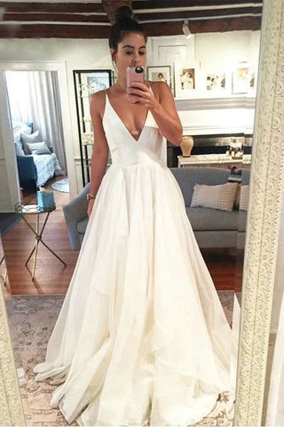 Simple Organza Beach Wedding Dresses Backless Floor-Length Deep V-Neck A-Line Bridal Dress OKW19