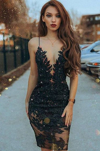 Sheath Spaghetti Straps Black Beaded Short Prom Dress with Lace OKE10