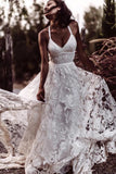 Sexy Beach Ivory Lace Wedding Dresses With Slit Backless Boho Bridal Dresses OKW55