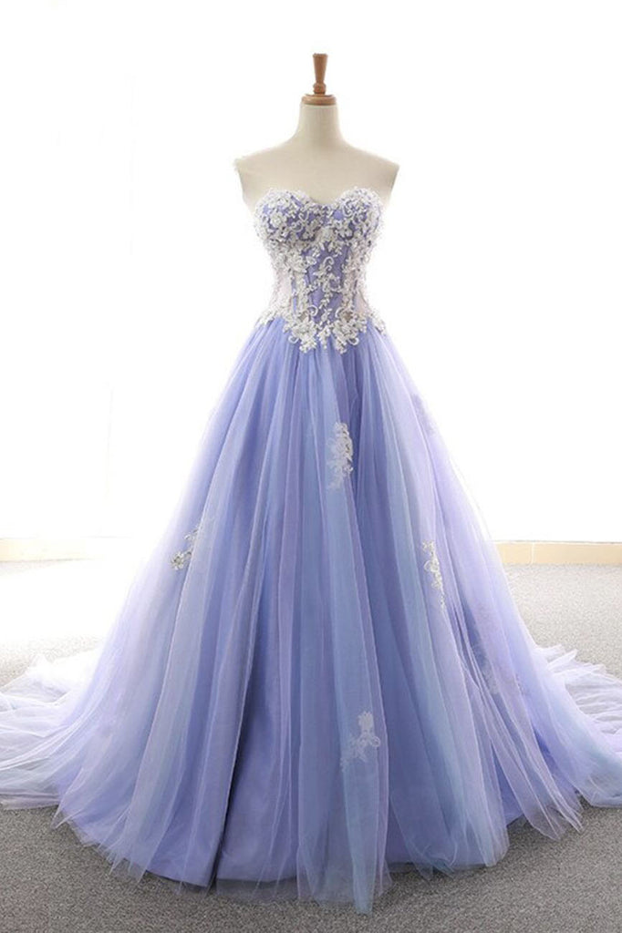 Princess Lavender Sweetheart A Line Tulle Appliques Prom Dresses OKU36