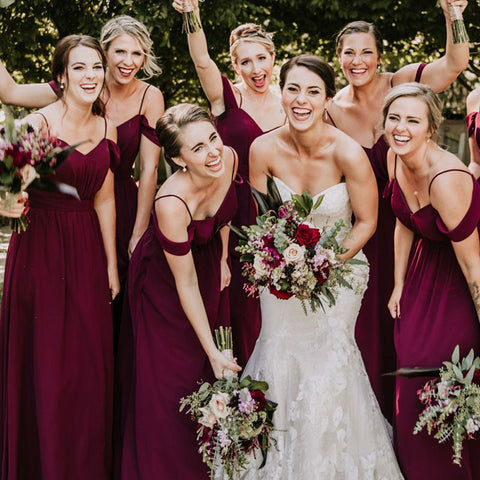 Spaghetti Straps Cheap Chiffon Off Shoulder Burgundy Bridesmaid Dresses OKG61