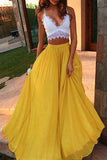 2 pieces Prom Dress,Yellow Prom Dresses,Long Evening Dresses,A Line Prom Dresses,White Evening Dress,Sexy Prom Gown