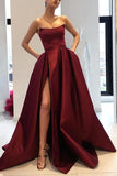Burgundy Strapless A Line Long Satin Prom Dresses With Split OKB47