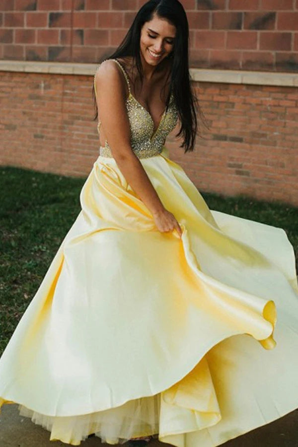 A Line Spaghetti Straps Backless Yellow Satin Prom Dress With Beading OKU5